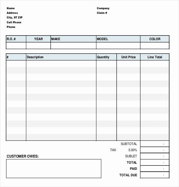 Automotive Repair Invoice Template Excel Inspirational 23 Repair order Templates – Free Sample Example format