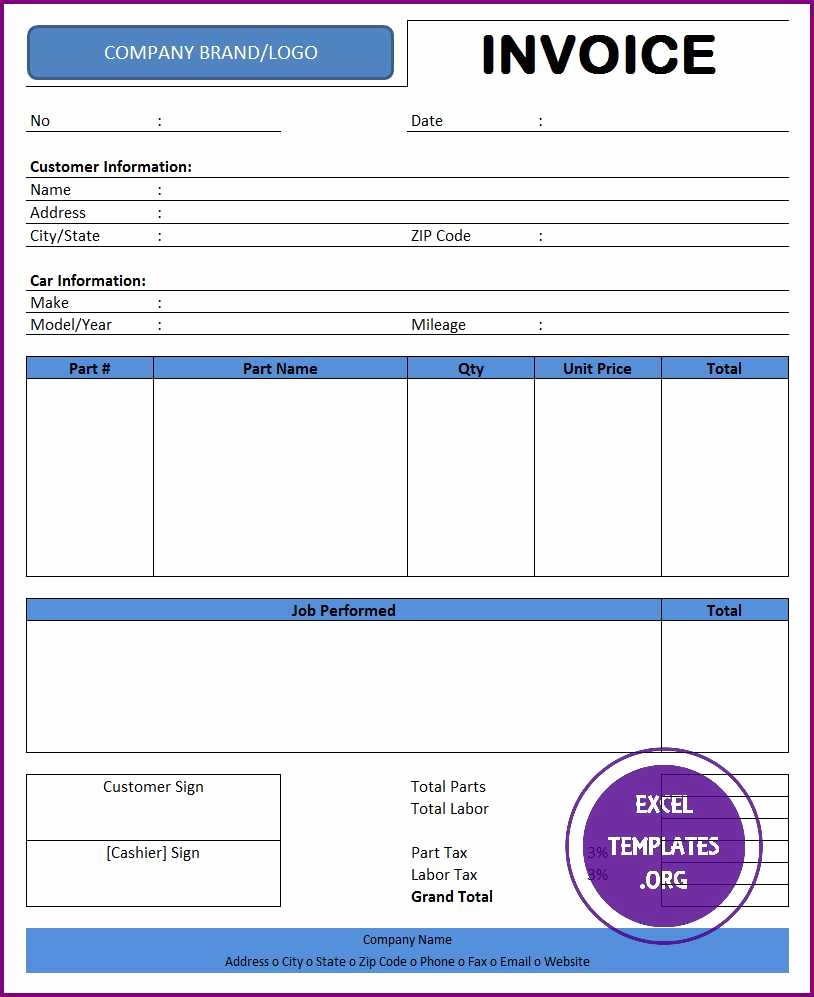 Automotive Repair Invoice Template Excel Inspirational Auto Repair Invoice Template Excel Templates