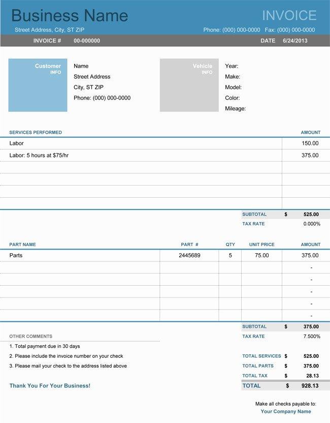 Automotive Repair Invoice Template Excel Inspirational Auto Repair Invoice Templates 10 Printable and Fillable