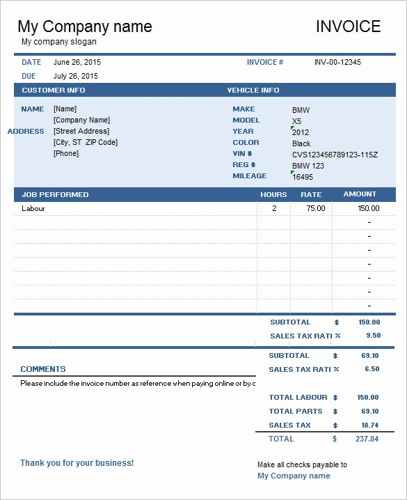 Automotive Repair Invoice Template Excel Lovely 60 Microsoft Invoice Templates Pdf Doc Excel