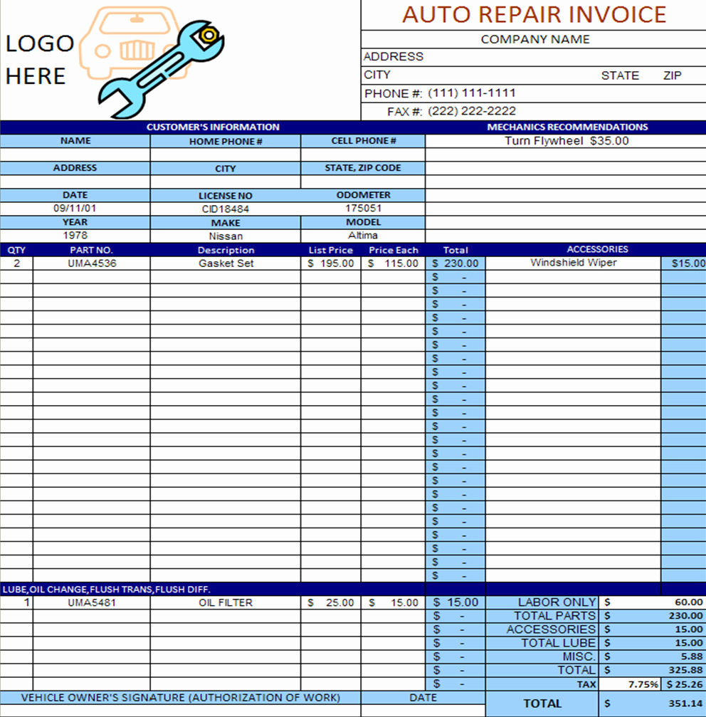 Automotive Repair Invoice Template Excel New Auto Repair Invoice Template Excel