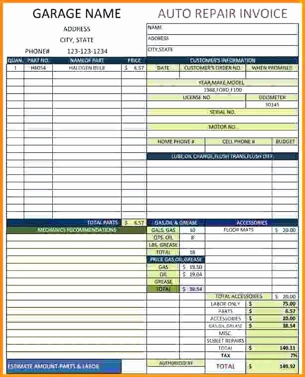 Automotive Repair Invoice Template Excel New Automotive Invoice Template Excel Ten Ideas to organize