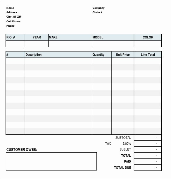 Automotive Repair Invoice Template Luxury 23 Repair order Templates – Free Sample Example format