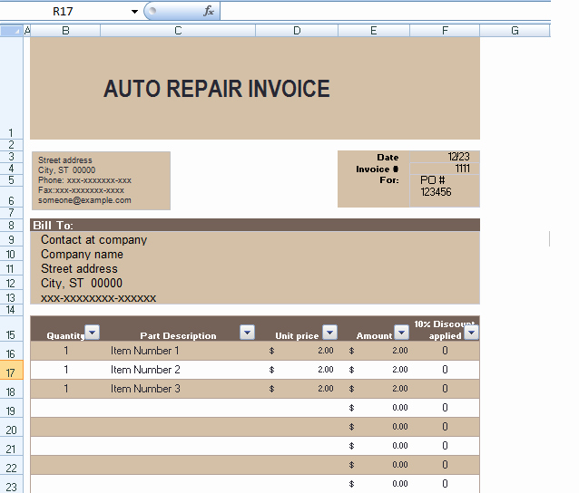 Automotive Repair Invoice Template Unique Auto Repair Invoice Template In Excel format