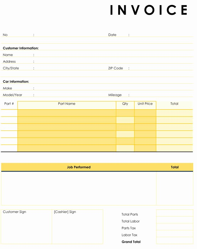Automotive Repair Invoice Template Unique Auto Repair Invoice Templates 10 Printable and Fillable