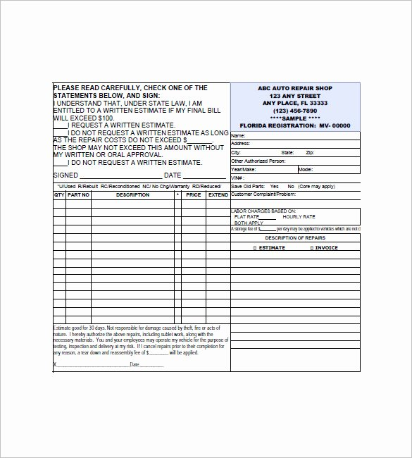 Automotive Repair Receipt Template Awesome 6 Auto Repair Invoice Templates Doc Pdf