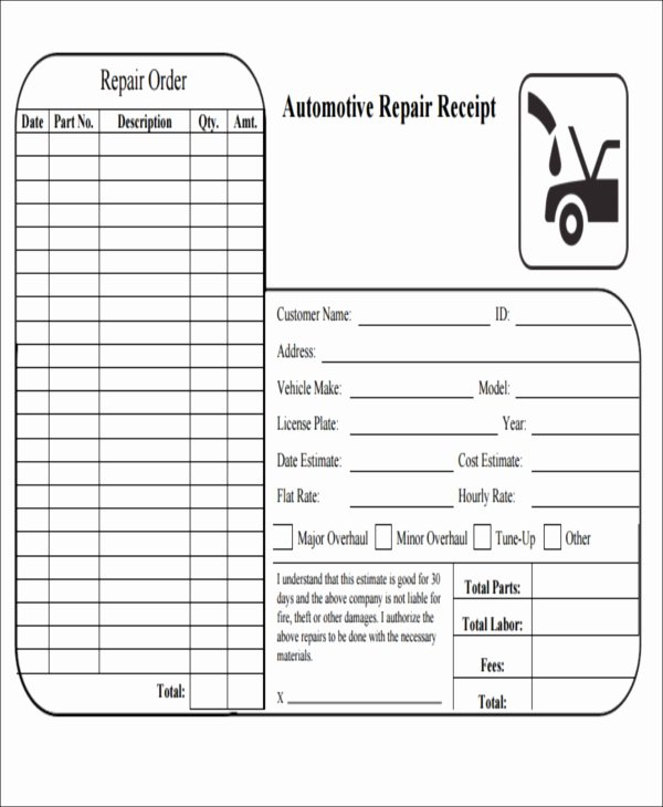 Automotive Repair Receipt Template Best Of 6 Repair Receipt Templates Free Sample Example format