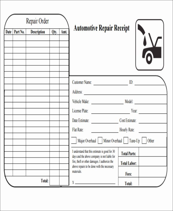 Automotive Repair Receipt Template Elegant Car Repair Receipt Template