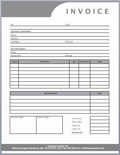 Automotive Repair Receipt Template Luxury Auto Repair Invoice Template Templates