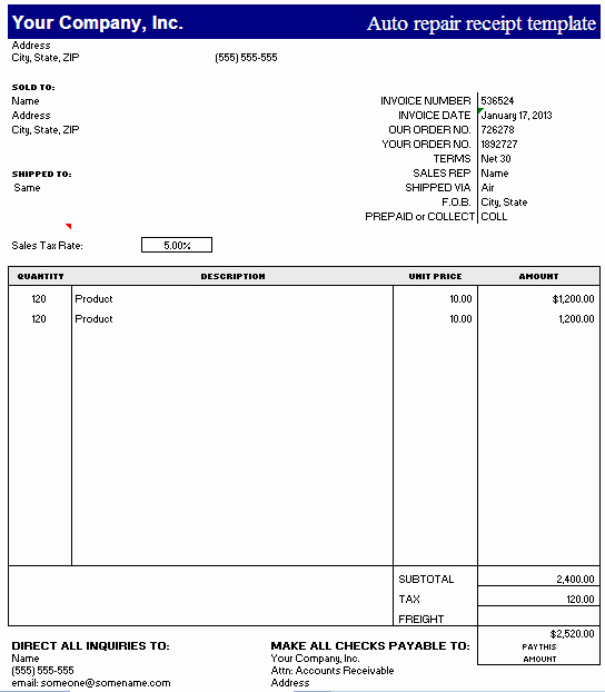 Automotive Repair Receipt Template New Auto Repair Receipt Template – Excel