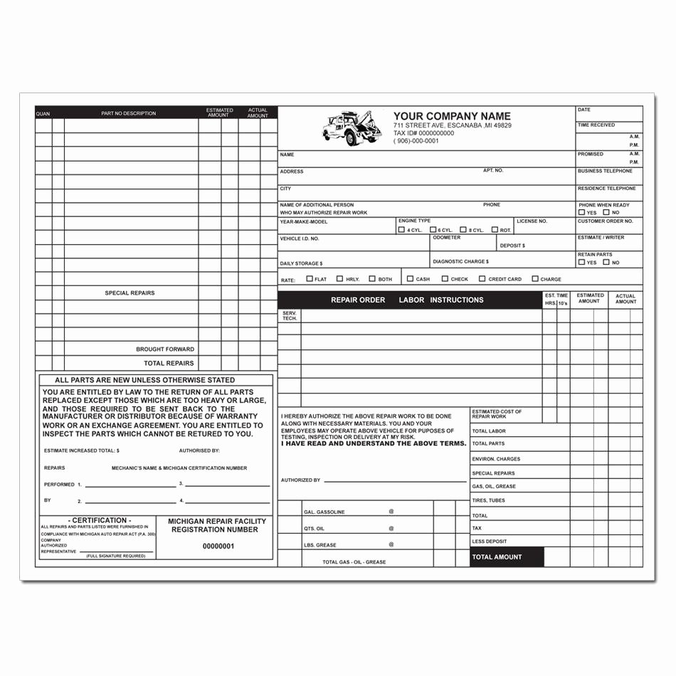 Automotive Repair Receipt Template New Product Details