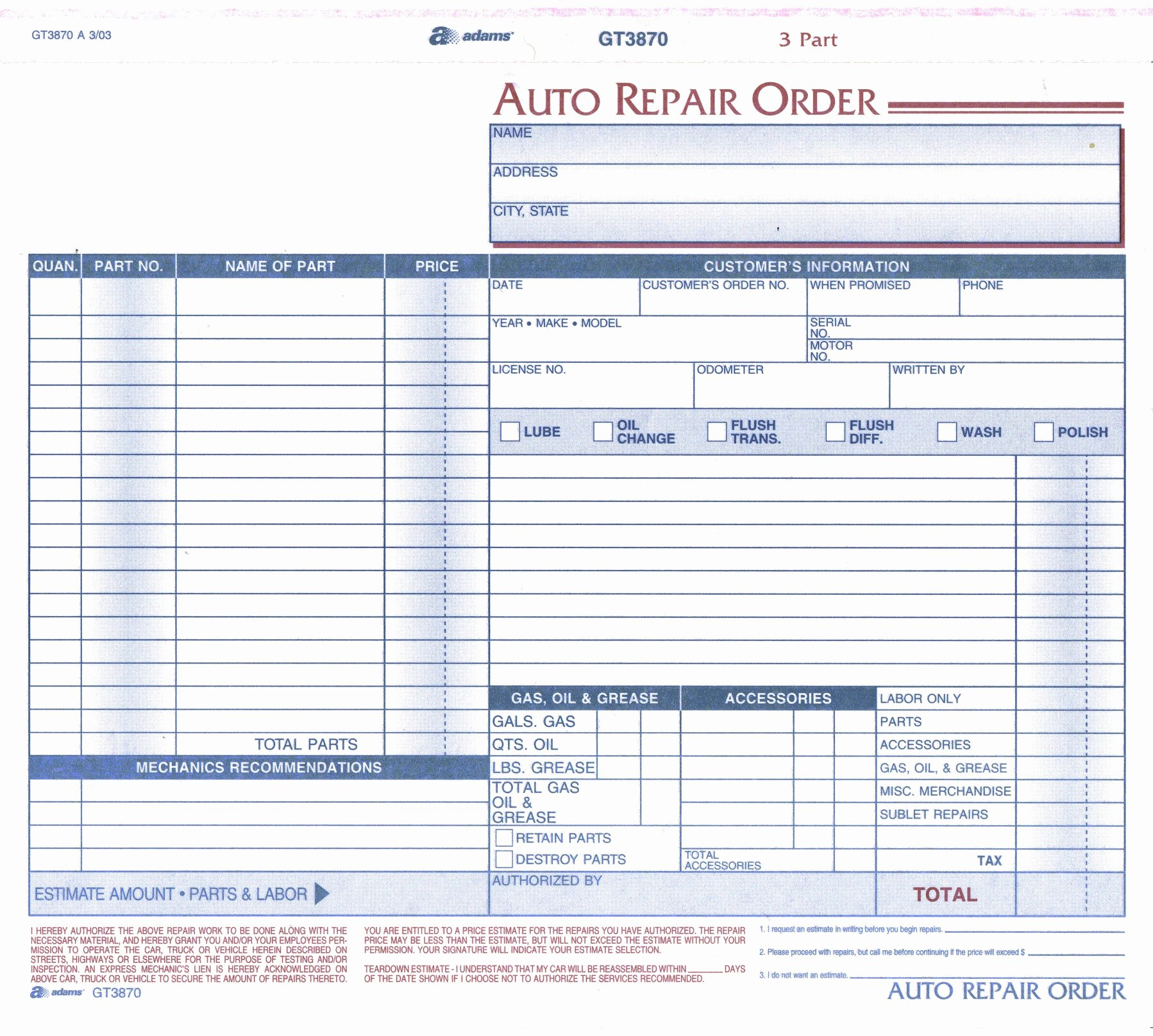 Automotive Repair Work order Template Fresh Product