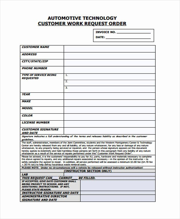 Automotive Repair Work order Template Inspirational Work order Templates 9 Free Pdf format Download