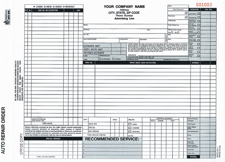 Automotive Repair Work order Template Unique Auto Repair order forms Arocc 665 and Aro 672