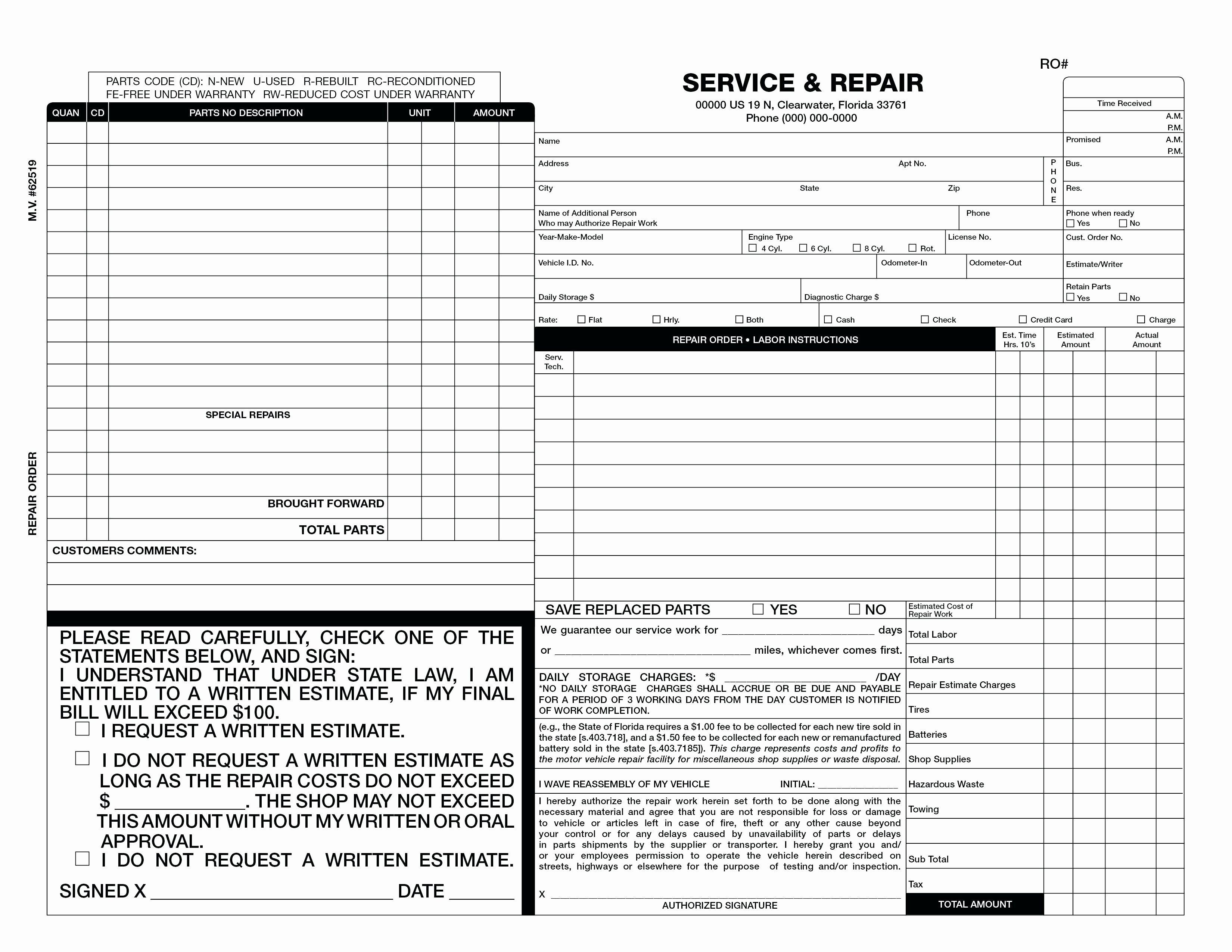 Automotive Work order Template Elegant Mechanic Work order Template