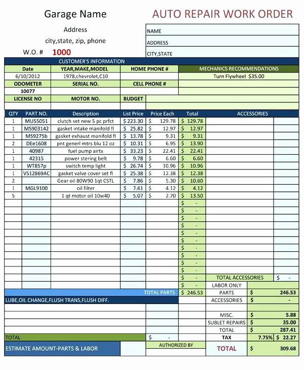 Automotive Work order Template Luxury Blank Auto Repair Invoice Automotive Work order Template