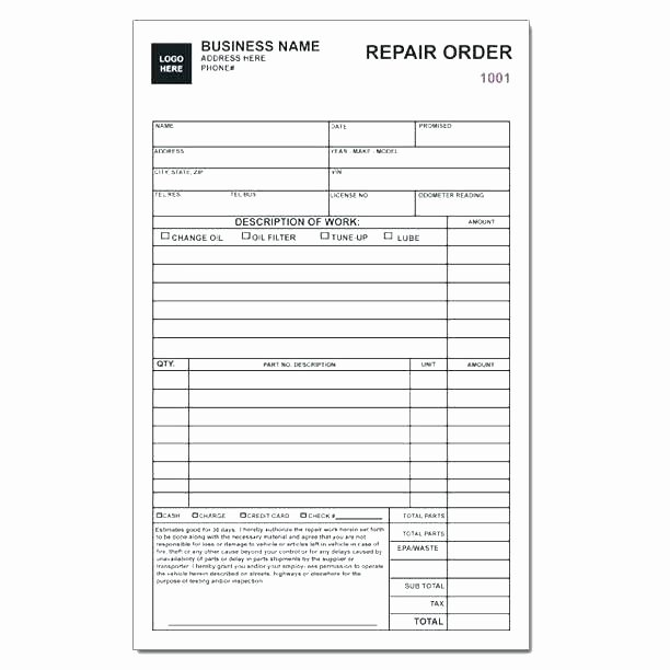 Automotive Work order Template New Auto Repair Invoice Templates Work order Template Excel