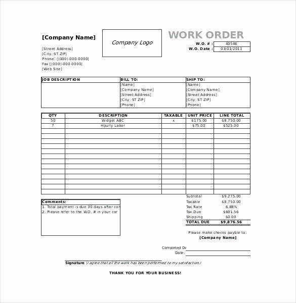 Automotive Work orders Template Elegant 95 Auto Repair Work order Template Excel Automotive