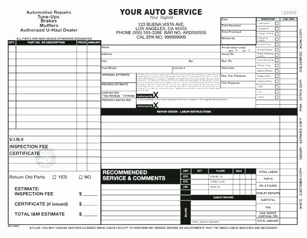 Automotive Work orders Template Luxury Blank Auto Repair Invoice Automotive Work order Template