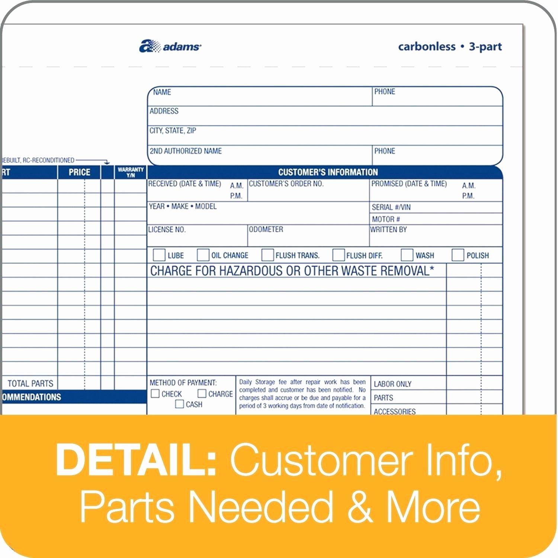 Automotive Work orders Template New Auto Repair order Template Excel Work Estimate Car Free