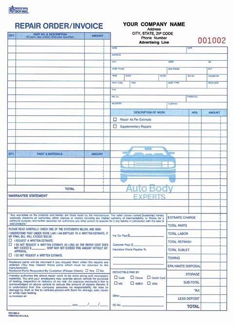Automotive Work orders Template Unique 4 Part Auto Body Repair order Invoice Carbonless