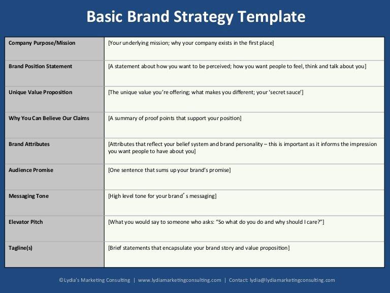 B2b Marketing Plan Template Luxury Basic Brand Strategy Template for B2b Startups