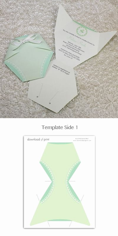 Baby Shower Diaper Invitations Template Beautiful Baby Shower Invitation Template Green Diaper