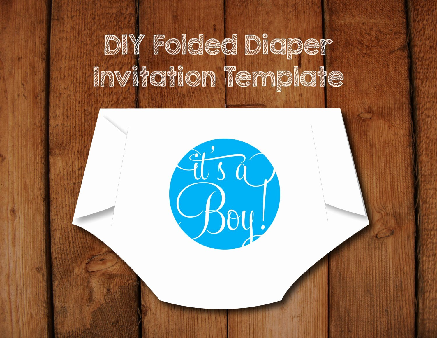 Baby Shower Diaper Invitations Template Beautiful Diy Folded Diaper Baby Shower Invitation Template with