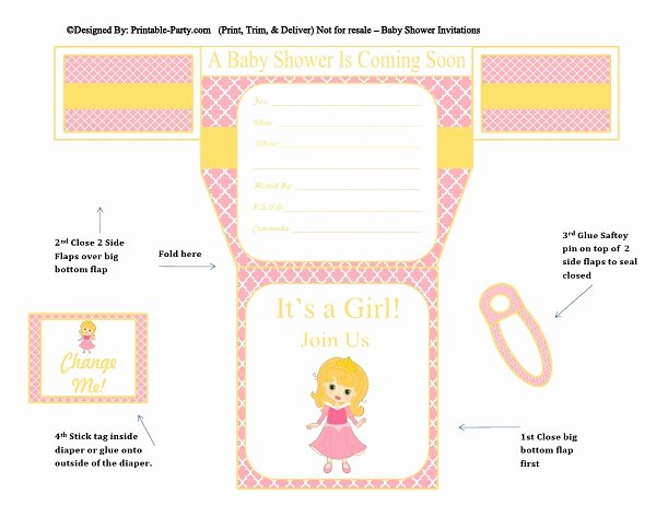 Baby Shower Diaper Invitations Template Beautiful Girls Diaper Baby Shower Invitations