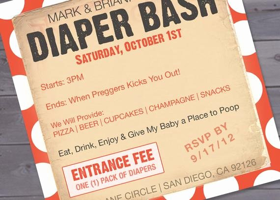 Baby Shower Diaper Invitations Template Elegant Items Similar to Diaper Bash Baby Shower Invitation