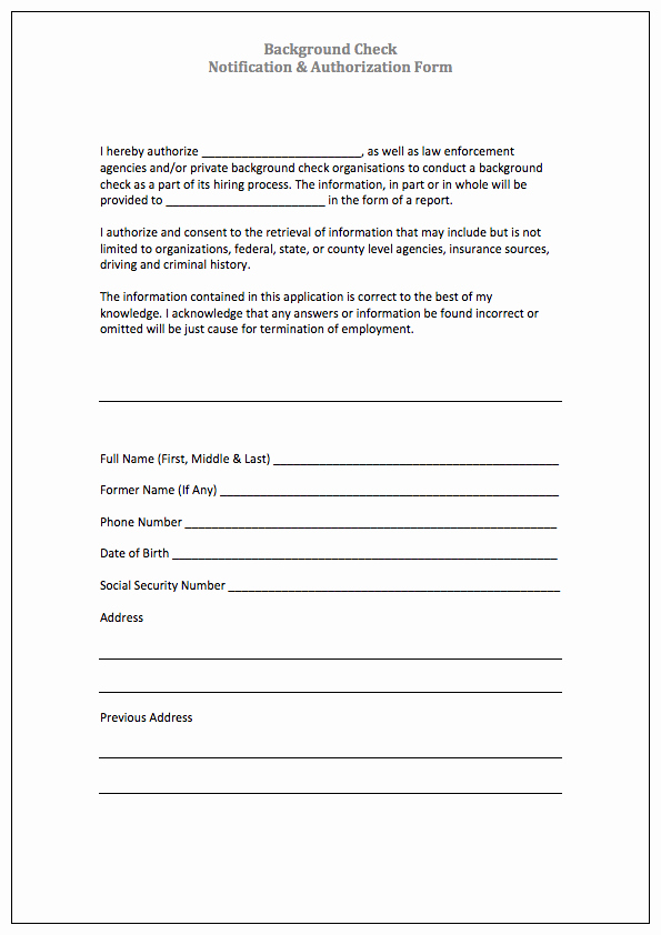 Background Check form Template Awesome Authorization form Templates
