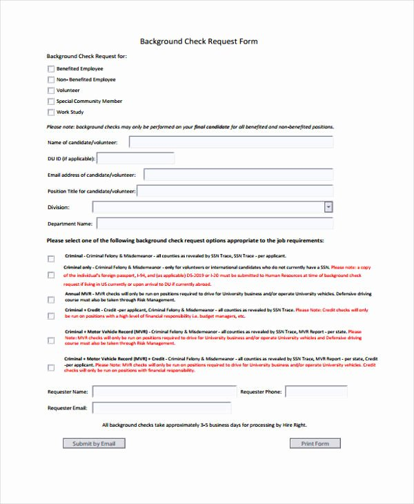 Background Check form Template Awesome Request form Template
