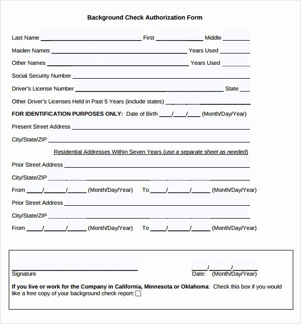 Background Check form Template Beautiful 11 Background Check Authorization forms to Download