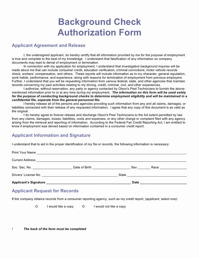 Background Check form Template Beautiful Background Authorization Related Keywords Background