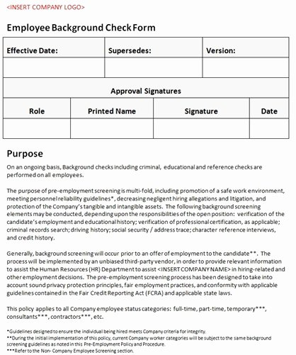 Background Check form Template Beautiful Employee Background Check form Accounting Policy