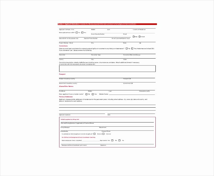 Background Check form Template Best Of 9 Background Check Information forms & Templates Pdf