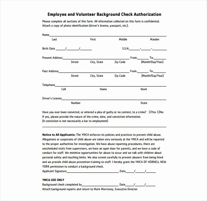 Background Check form Template Elegant 9 Background Check Information forms & Templates Pdf