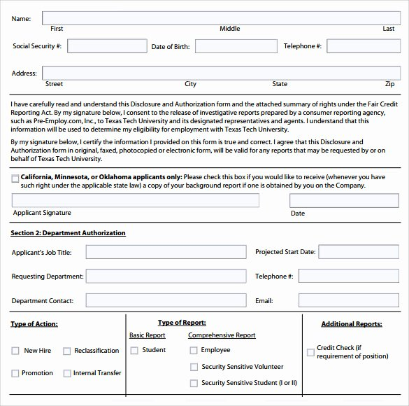 Background Check form Template Fresh 11 Background Check Authorization forms to Download