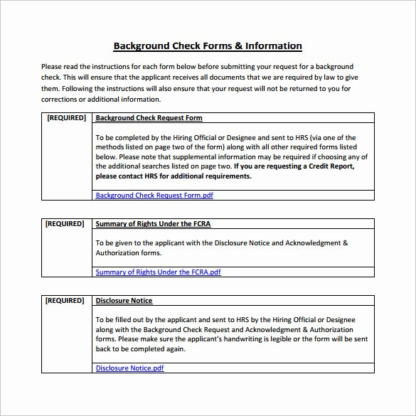 Background Check form Template Fresh 8 Sample Background Check forms to Download