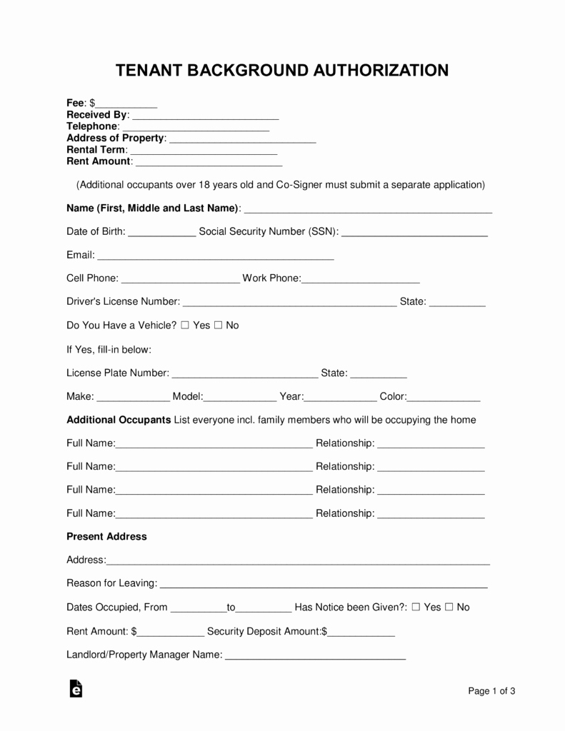 Background Check form Template Fresh Free Tenant Renter Background Check form Word