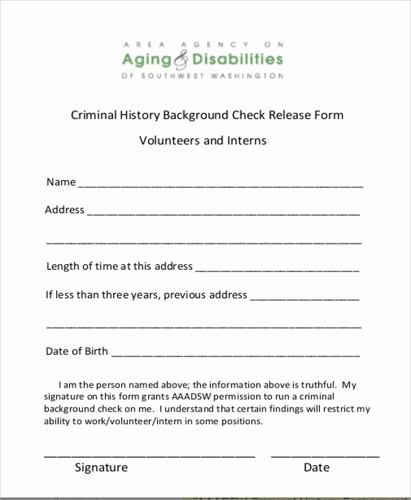 Background Check form Template Lovely 8 Sample Background Check Release forms