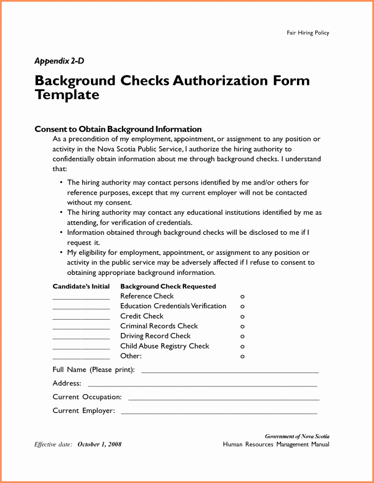 Background Check form Template Lovely Consent Background Check Consent form