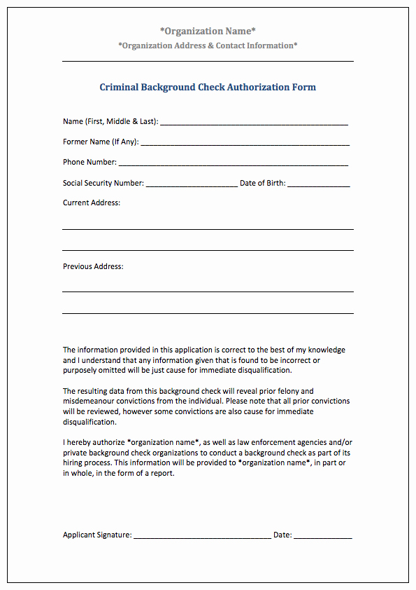 Background Check form Template New Authorization form Templates