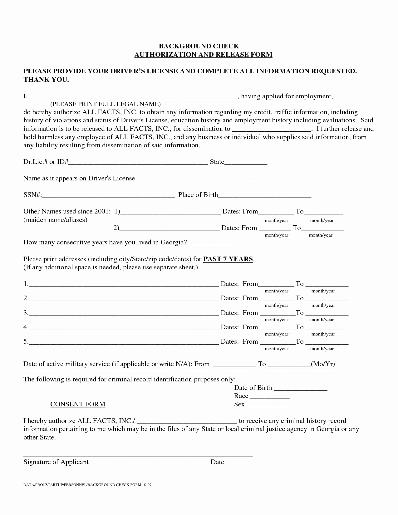 Background Check form Template New Authorization to Release Information Template