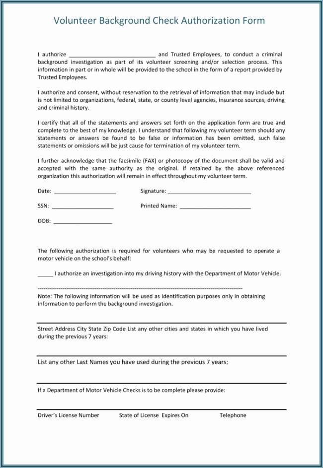 Background Check form Template Unique Background Check Authorization form Template Templates