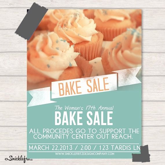 Bake Sale Flyer Template Fresh Bake Sale Flyer Personalized Printable by