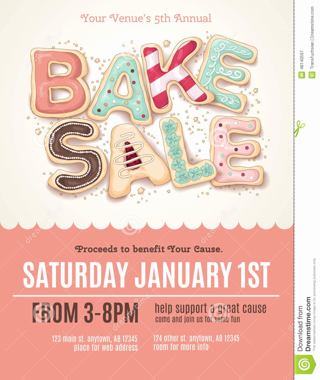Bake Sale Flyer Template Lovely Fun Cookie Bake Sale Flyer Template Stock Vector