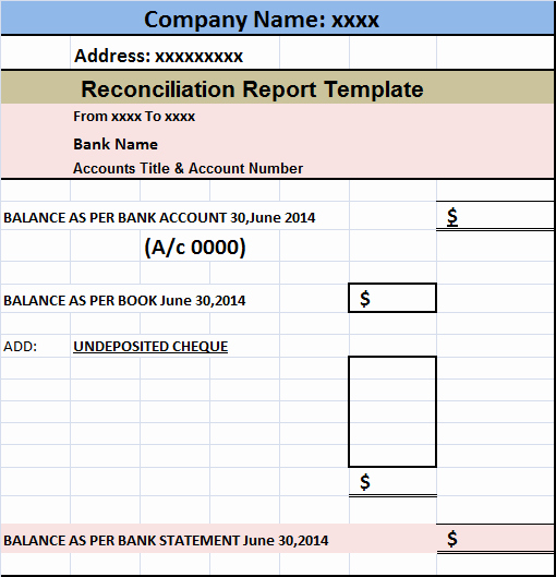 Bank Reconciliation Excel Template Awesome Account Reconciliation Report Template – Free Report Templates