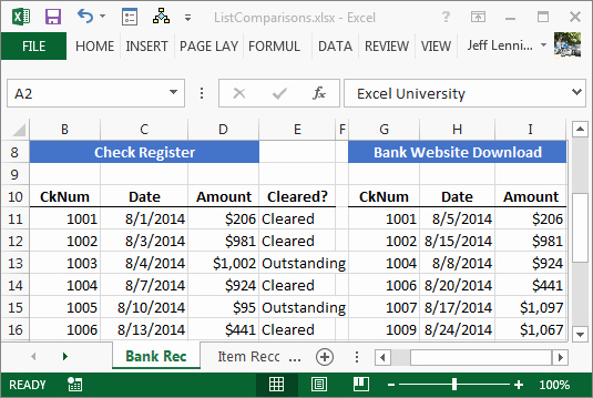 Bank Reconciliation Excel Template Beautiful Paring Spreadsheet Lists with Ease