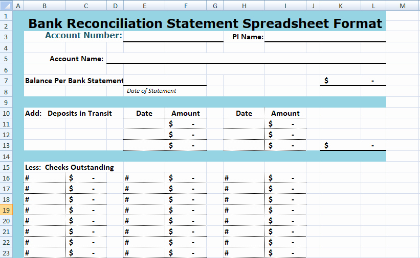 Bank Reconciliation Excel Template Beautiful Simple Bank Reconciliation Template Excel Spreadsheet